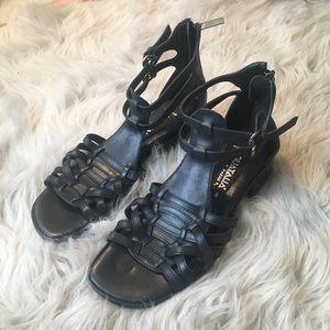Aquatalia Black Leather Sandals